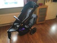 Phil&teds double pushchair with full size raincover