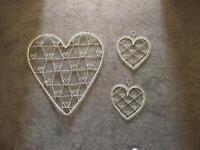 Set of 3 vintage cream heart shaped photo/postcard wall hangers