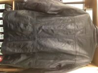 Mens Black Leather Coat Size XL with draw strings