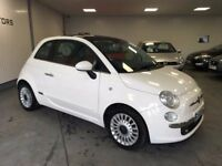 FIAT 500 LOUNGE 1.4 3DR WHITE (2010) FULL RED LEATHER- PANORAMIC ROOF -6 MONTHS WARRANTY- HIGH SPEC