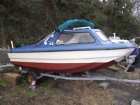 14ft cjr with 25hp tohatsu 4 stroke lots of new bits and roller trailer