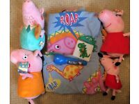 Peppa pig toddler bed set torch light switch cover and 3x large teddies 1x small