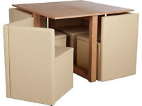 Hygena Square wooden space saver set and 4 chairs