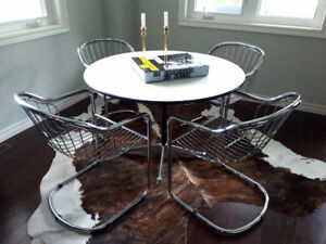 Mid Century Modern Herman Miller Table Chrome Wire Chairs