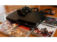 PS3 Slim 250Gb Limited Edition. Mint Condition inc Box, all cables, controller and 6 games