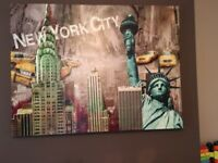 3 large New York canvas