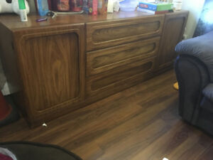 Solid wood bedroom set and 2 big comfy chairs