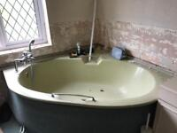 Olive green colour Family size bath tub & counter top washbasin