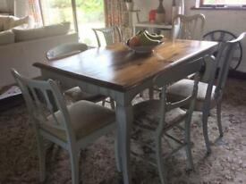 Shabby Chic teak table with 6 individual upholstered chairs