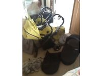 Oyster pram and pushchair with extras £55 ono, in lime green, grey and black
