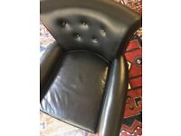 Black Leather Button Back Armchair