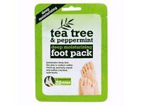 Tea Tree Peppermint Shea Butter Foot Moisturising Socks/Boots Treatment Item New