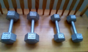 Set of four steel hand weights