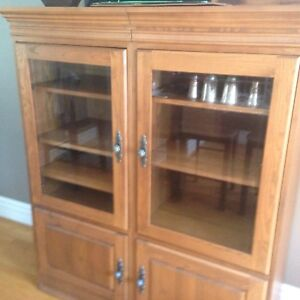 Two piece entertainment  unit. Solid wood.