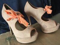 Suede high heels