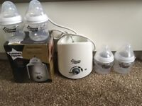 Tommee tippee bottle warmer and 4 small bottles
