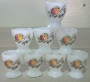 Vintage Arcopal France Fruit Pattern Milk Glass Egg Cups