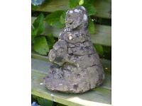 Vintage Cast Stone Moles Climbing a rock Garden Ornament Statue 29cm tall