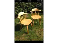 Pair Solid Wood Chairs