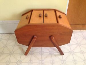 Large Vintage Solid Maple Sewing Box / Crafts Box