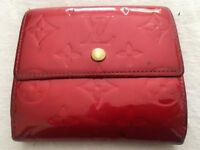Genuine LV Louis Vuitton Vernis Rouge Porte Monnaie wallet, leather red, rrp £450