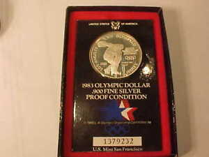 1983 OLYMPIC DOLLAR .900 FINE SILVER PROOF CONDITION NIB -USA