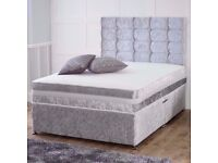 SINGLE - DOUBLE - SMALL DOUBLE - KINGSIZE =NEW CRUSHED VELVET DIVAN BED WITH MATTRESS