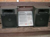 Complete PA system ( Mixer Amp + 2 speakers +2 stands + connecting leads)