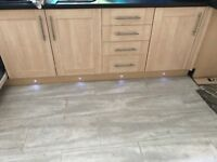 Kitchen cabinets, doors, worktop, handles and lights