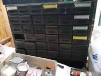 Vintage bank of 36 metal drawers