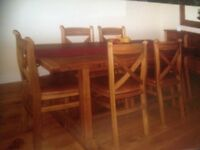 Willis Gambia solid wood dining table and 6 chairs, sideboard and mirror
