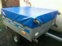 Duuo Galvanised Steel trailer, cover, jockey wheel and spare wheel, stores vertical for tight spaces