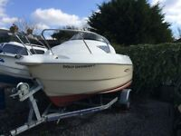 Day Boat Quicksilver 460 Cruiser on Intuition Rollercoaster Trailor + 15HP Mariner Outboard