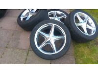SET OF FULL CROME D.CORSA WITH GOOD TYRES (SIZE 225/45 R17 5 STUDS )