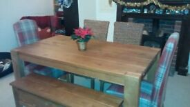 Solid wood dining room table, four chairs and bench