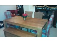 Solid Wood Dining Room Table Four Chairs And Bench
