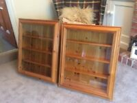 Wall mounted glass fronted pine display cabinet