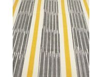 6 METRES Saffron Grey Yellow Stripe Curtain Upholstery Fabric BRAND NEW 100% Cotton