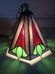 Vintage Stained Glass Swag Lamp, Fantastic Colours