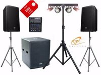 Speakers microphones sound PA hire for a party or similar event in Greater London and Surrey