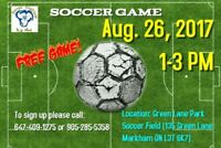 Free Soccer Game for youth up to 25 years old