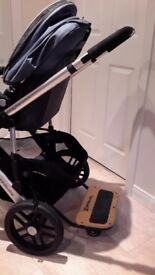 Uppababy vista pram includes bassinet, raincover, piggyback buggy board & car seat adaptors