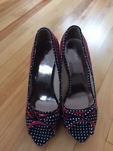 Navy & red heels with white poka dots