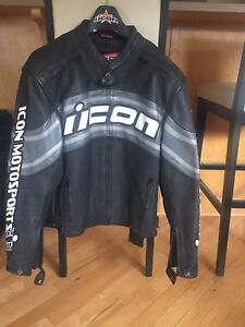 Icon leather motorcycle jacket M