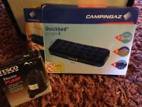 2 x Campingaz Quick Bed Single + 1 x Tesco Electric Air Pump All New