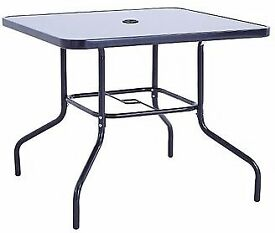 ASDA George Miami Black Patio Table - 86cm - Glass top - Bargain - Collection Only!
