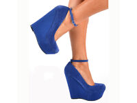 Blue suede heels/shoes with platform and ankle strap UK size 4