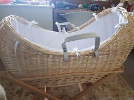 Claire De Lune moses basket used once - with 8 moses sheets