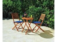 Garden table and chair set x 2 - Wooden Newbury 2 Seater Bistro Set
