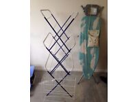 Laundry Bundle Clothes Airer Horse x2 Ironing Board Peg Bag and Pegs